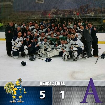 2016 NESCAC Men's tournament champions Trinity Bantams