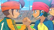Kanon and Mamoru shaking hands
