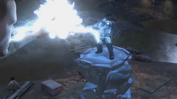 Cole fights with an Ice Heavy on an Ice Pillar