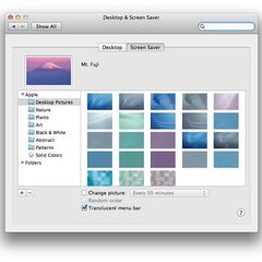 New desktop and screen saver settings