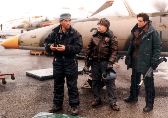 File:007- Dickey Beer on-set of Tomorrow Never Dies with stunt doubles.jpg