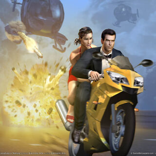 an early promo image featuring James Bond, the Daytona Triumph 600, and an unknown girl who could be either <a href=