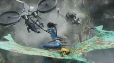 Neytiri flying Mountain Banshee