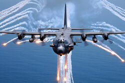 AC-130H Spectre jettisons flares