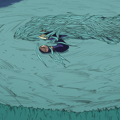 Mikitaka lying unconscious in the crop circle.