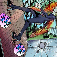Scaling a wall with her Stand's ability.