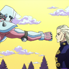 Mikitaka doesn't react to a Stand, unable to see <a href=