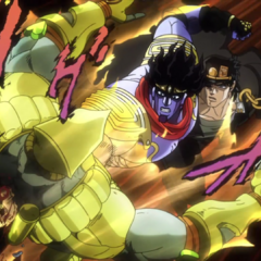 The World is punched through the chest by Star Platinum