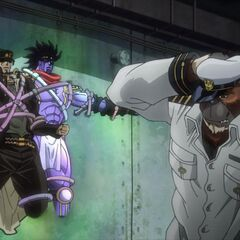 Jotaro trapped within Strength's walls