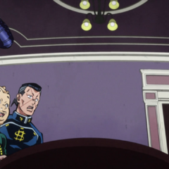 Okuyasu, Josuke and Shigechi nervously try to verify their ticket.