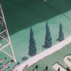 Toyohiro walking on Super Fly's cables in the third opening, <i><a href=