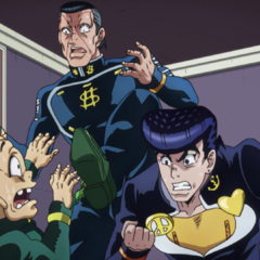 Being threatened by Josuke after making another greedy comment.