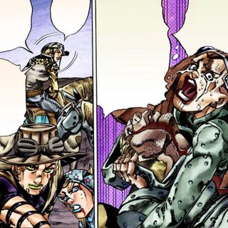 With his father in his arms, warning Gyro