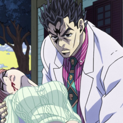 An unconscious Shinobu being held and protected by Kira.