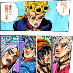 Abbacchio and the others are introduced to Giorno Giovanna