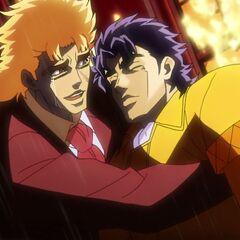 Speedwagon cries as he holds an unconscious Jonathan