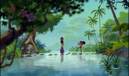 Mowgli and Shanti are both crossing the river