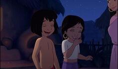 Mowgli and Shanti both laughing