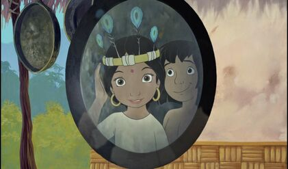 Mowgli gave Shanti a feather hat