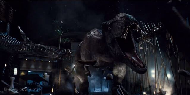 File:Rexy preparing for battle with Indominus rex.jpg