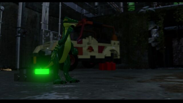 File:LEGO Jurassic World Parking Garage level Compy waving goodbye to the Mitchell Bros. MlWA77ypx3ELGvt0sH.jpg