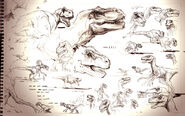 The Lost World Jurassic Park sketchbook page T-rex and Raptor
