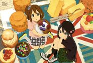 Yui and Azusa with giant sweets