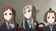 Mika, Mugi and Tsukasa graduating