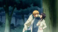 Usui and Misaki near a tree