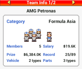Viewing Team Info - Grand Prix Story