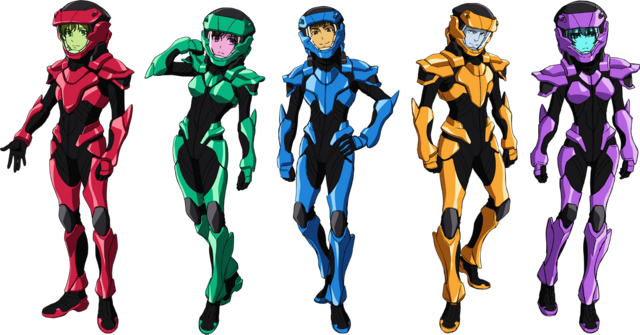 File:Valvrave pilots with their suits.png