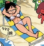 Chibi AKi sunbathing