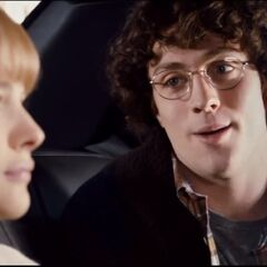 Dave in a taxi with Mindy