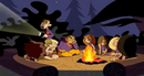 Ron telling stories around campfire