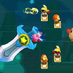 Kirby usando su Super habilidad de Espada contra varios enemigos.