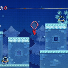 Kirby en una zona helada junto a dos Chilly.