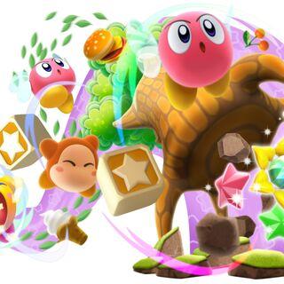 Kirby hípernova inhalando todo lo que se encuentra a su paso