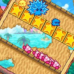Varios Kirbys en un cuarto giratorio.