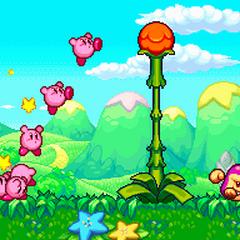 Kirbys frente a una planta.