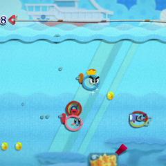 Kirby en el mar junto a Príncipe Hilván y un Fugur.