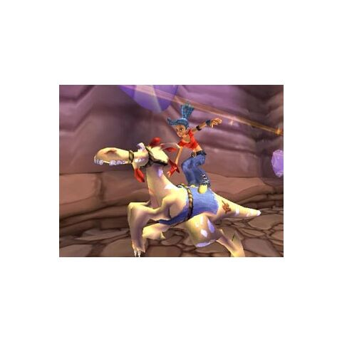 Kya riding a white Jamgut, which does not appear in the game.