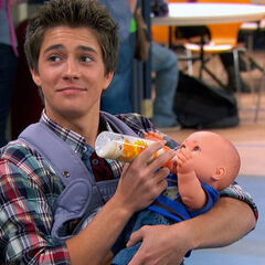 Chase with the plastic baby