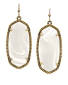 Kendra Scott - ''Elle'' earrings brass white banded agate