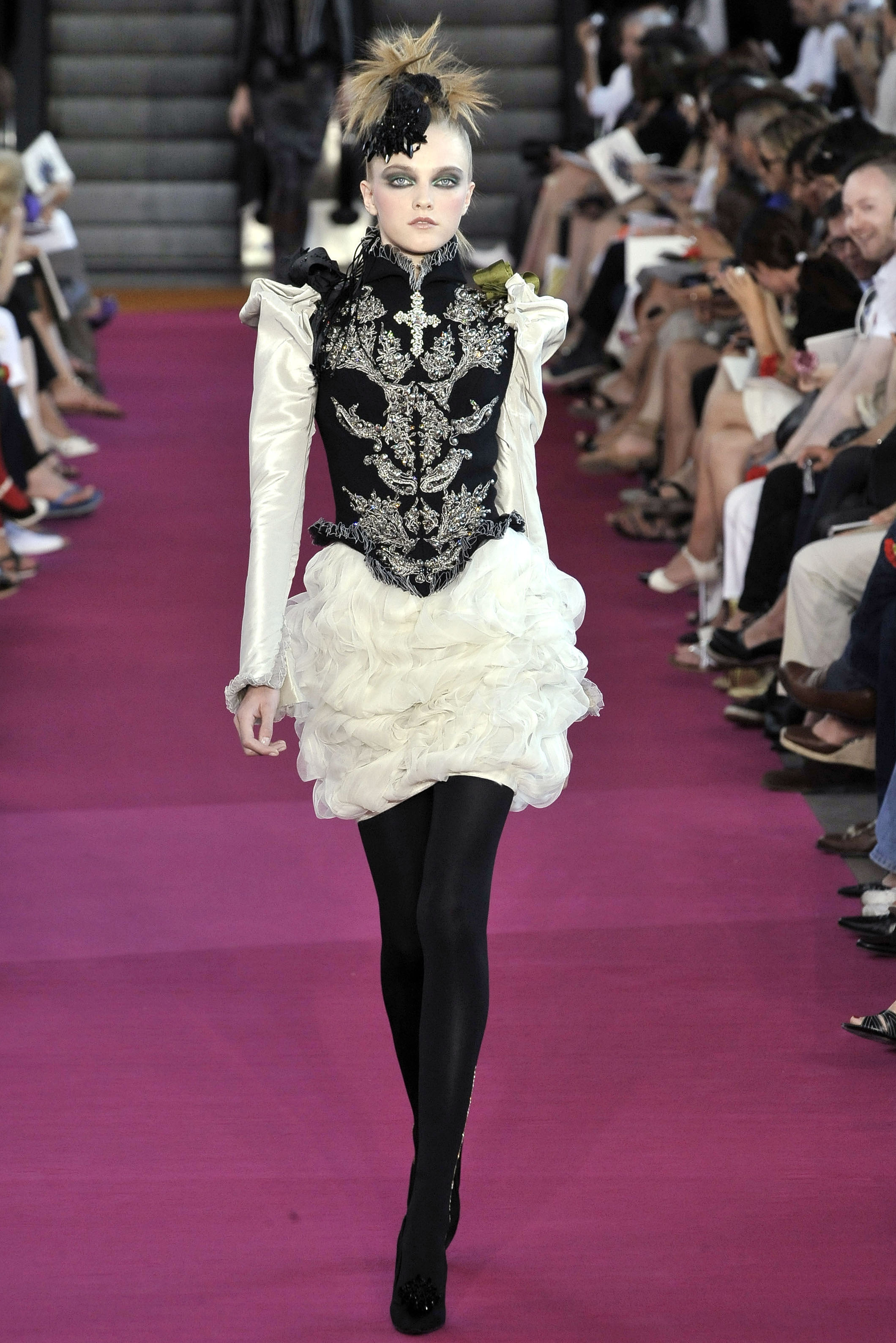 File:Christian Lacroix Fall 2008 Couture White Dress With Black Vest.jpg