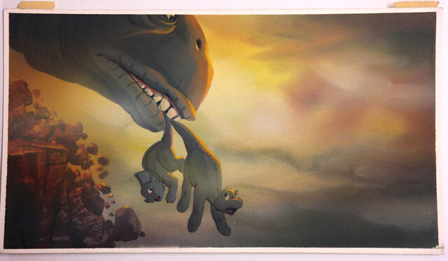 File:LAND BEFORE TIME Color Key Concept DON BLUTH Production cel Art LITTLEFOOT CERA.jpg