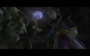 Moebius used his staff to incapacitate Kain (Defiance)
