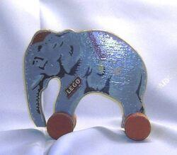 Wooden lego elephant