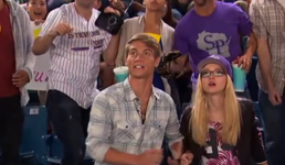 Maddie & Josh watch ball come to stands