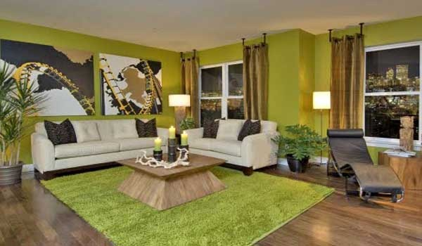 image stylish green color living room at modern trends