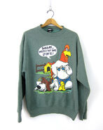 Vintage Foghorn Leghorn Looney Tunes sweatshirt Oversized Slouchy Rooster and Dog Novelty sweater Size Large